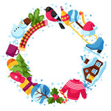 Frame with winter objects. Merry Christmas, Happy New Year holiday items and symbols Stock Photography