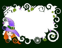 Frame with witch. Vector illustration of frame with witch Royalty Free Stock Photo