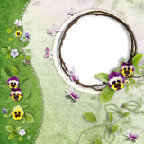 Frame With Green Wave And Pansy Royalty Free Stock Images