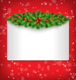 Frame With Holly And Pine On Red Royalty Free Stock Image