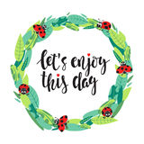 Frame With Leaves, Ladybirds And Text Stock Photos