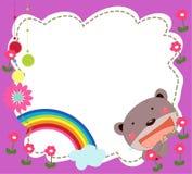 Frame With Teddy Bear Stock Image