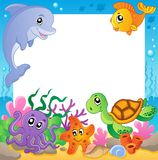Frame With Underwater Animals 1 Royalty Free Stock Images