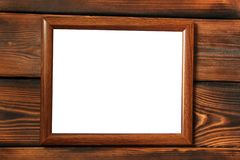 Frame on wooden background. With place for your text stock image