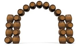 Frame is from wooden barrels. Frame of wooden barrels in the form of an arch. 3D illustration Royalty Free Stock Photography