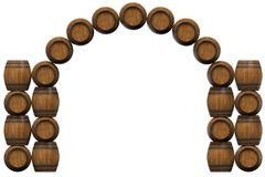 Frame is from wooden barrels. Frame of wooden barrels in the form of an arch. 3D illustration Stock Photos