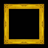 Frame wooden Carved pattern isolated on a black background. Royalty Free Stock Photos
