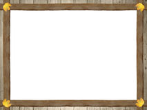 Frame of wooden planks and autumnal maple leaves Royalty Free Stock Images