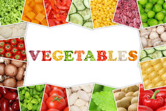 Frame with word vegetables and tomatoes, paprika, lettuce, potat Stock Images