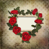 Frame with a wreath of roses on vintage background Royalty Free Stock Photography