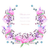 A frame, wreath for a text with the watercolor blue and violet berries and branches, pink flowers, hand-drawn on a white backgroun Royalty Free Stock Photography