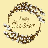 Frame wreath for text from young willow branches with open buds. Congratulations on a happy Easter. Natural frame wreath for text from young willow branches royalty free illustration