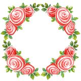 Frame wreath watercolor bouquet of three roses  on a white rhombus background stock illustration