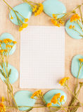 Frame for writing of pebble and  flowers Stock Images