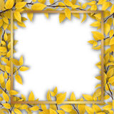 Frame with yellow autumn leaves Stock Images