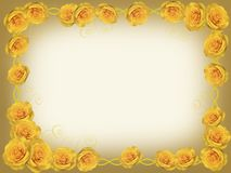 Frame of yellow roses. Frame with yellow roses on a yellow background Stock Photo