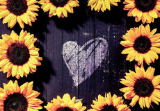 Frame of yellow sunflowers around a heart Stock Images