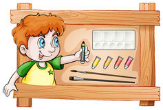 A frame with a young painter Stock Photo