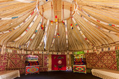 The frame of the Yurt. Trip in Kazakhstan, the upper part of the Yurt inside view royalty free stock photo