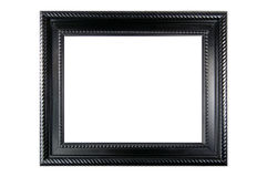 Framed. Black ornate frame on white background stock photos