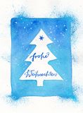 Framed abstract Christmas tree watercolor painting with German text: Frohe Weihnachten. Framed abstract Christmas tree artistic watercolor painting with German Royalty Free Stock Images