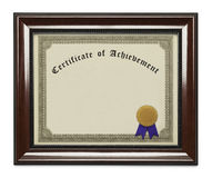 Framed Achievement Certificate. Framed Certificate of Achievement with Copy Space Isolated on White Background Royalty Free Stock Photos