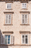 Framed ancient windows with shutters Royalty Free Stock Photos