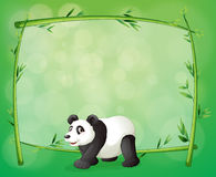 A framed bamboo with a big panda Stock Image
