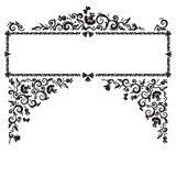 Framed banner. Scrollwork-like floral pattern, black and white Stock Photos
