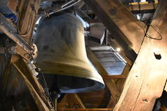 Framed Bell in Notre Dame. One of the two large bells in the Notre Dame Cathedral, Paris, France royalty free stock photo