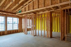 Framed building or residential home with basic. Electrical wiring and hvac complete Stock Photos