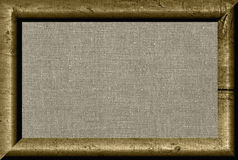 Framed canvas. Wooden texture frame and natural linen striped uncolored canvas Stock Photos