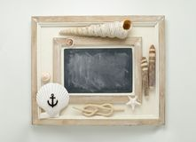 Marine decorated chalkboard. Royalty Free Stock Photo