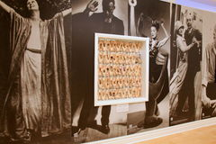 Framed collection of pointe shoes, in wall that showcases famous dancers, Museum of Dance, Saratoga Springs, New York, 2016 Royalty Free Stock Photos
