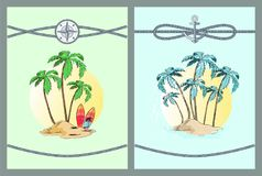 Framed Color Vector Illustrations with Palm Trees. Framed vector illustrations with palm trees blue and green leaves on palms that isolated in bright yellow Royalty Free Stock Image
