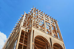Framed Construction House. This is a new home under construction and still in the framing stage Royalty Free Stock Images