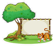 A framed empty banner with a tiger Royalty Free Stock Photos