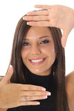 Framed face headshot. Shot of a framed face headshot Stock Image