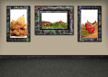 Framed fall. Framed pictures of autumn arrangement hanging on the wall royalty free stock photo