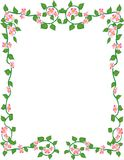 Framed flowers. Garland of pink petals and green leaves in the shape of a frame Stock Photo