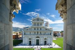 Framed by Gargoyles. A different view of Pisa Royalty Free Stock Photo