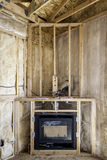 Framed in gas heating fireplace Stock Photo