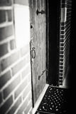 Framed Gothic-style Wooden Front Door Royalty Free Stock Photos