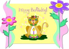 Framed Happy Birthday Greeting with Cat and Flower Royalty Free Stock Photography
