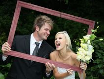 Framed Happy Wedding Couple royalty free stock image