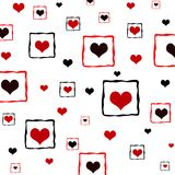 Framed hearts. Pattern in red and black colors Royalty Free Stock Photography