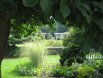 Framed lawn garden. The Lawn Garden with pergolas at the Botanic Garden stock photos