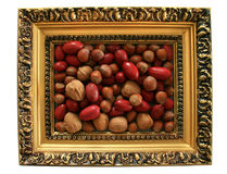 Framed Mixed Nuts. Royalty Free Stock Photos
