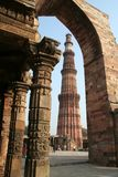 Framed Monument. Qutb Minar framed in surrounding structure, Delhi, India Royalty Free Stock Photography