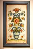 Framed Norwegian Folk Art Rosemaling Painting Stock Photography